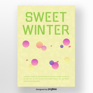 green fresh snow gradient geometric ice cream winter dessert poster Template