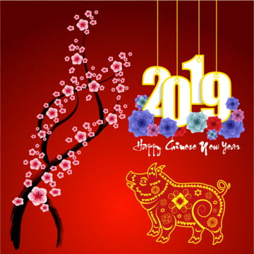 happy chinese new year 2019 year of the pig lunar new year template