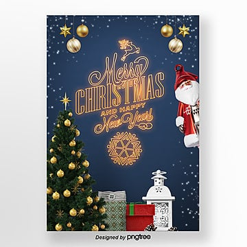 the neon lights of the merry christmas promotional poster Template