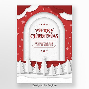 paper cut red christmas green poster design, Cloud, Star, Red PNG and PSD