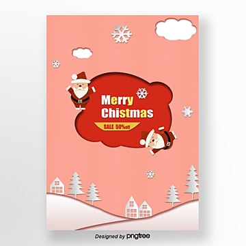 pink cartoon christmas paper cut style promotional posters Template