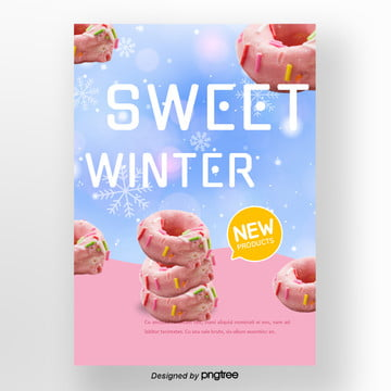 blue pink so gradually change the winter sweets poster background Template