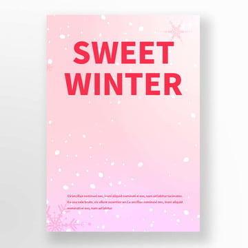 pink snow winter strawberry blueberry cake  coffee  sweets poster Template