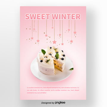 red star christmas  i wish you a happy birthday the winter sweets poster Template