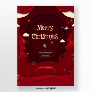 red christmas paper-cut promotion poster template, Silk Ribbon, Cloud, Five-pointed Star PNG and PSD