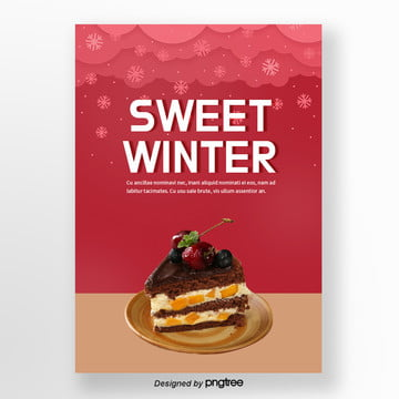 red christmas winter snow wood cherry cake sweets poster Template