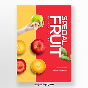 red colour apple orange personality fashion publicity poster Template