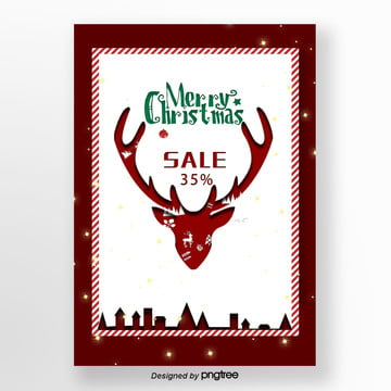 red deer christmas poster on the bed Template