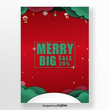 red festival paper cut promotion poster for christmas 2019 Template