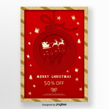 red paper cut christmas promotional poster Template