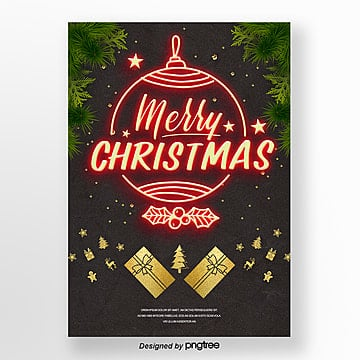 retro style merry christmas neon light advertising Template