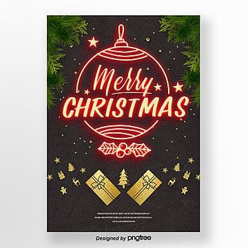 retro style merry christmas neon light advertising Template