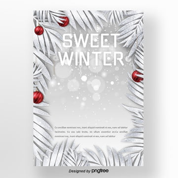 silver red christmas winter sweets  coffee and newspaper Template