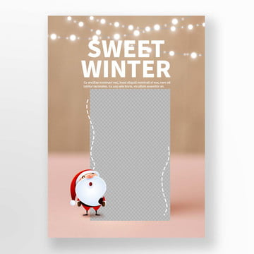 white christmas lantern santa claus macaron coffee winter sweet food poster coffe Template