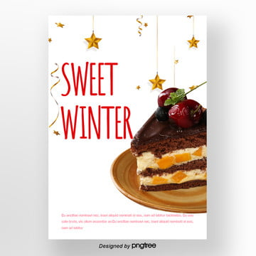 white christmas santa claus winter sweets poster cherry cake Template