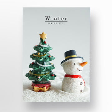 white pine winter snowscape simple poster Template