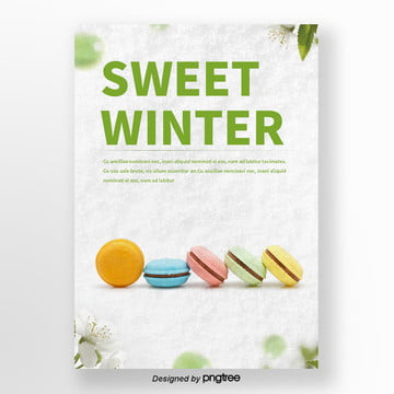 white snow that winter  green tea cake  sweets poster Template