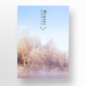 white winter skiing scene simple poster Template
