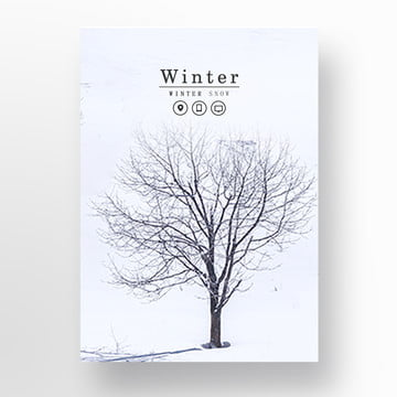 white winter snow about the poster Template
