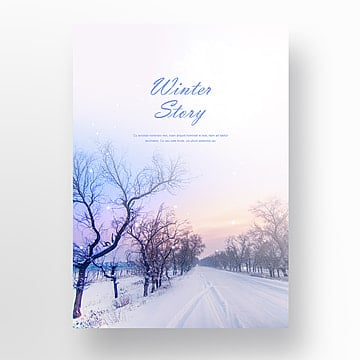 winter story dream poster, Winter, Setting Sun, Heavy Snow PNG and PSD