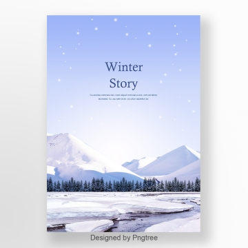 winter snow mountain blue poster Template