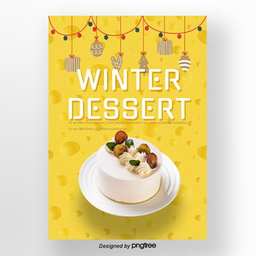 yellow geometric circular lights christmas cheese cake winter dessert poster Template
