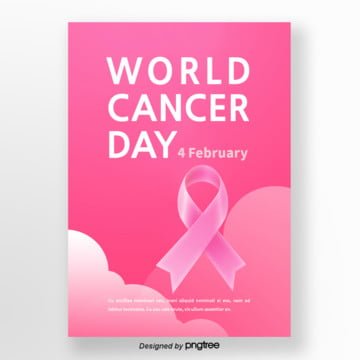 pink gradual cloud ribbon world cancer day poster Template