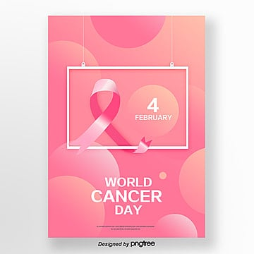 pink red ribbon world cancer day poster template Template