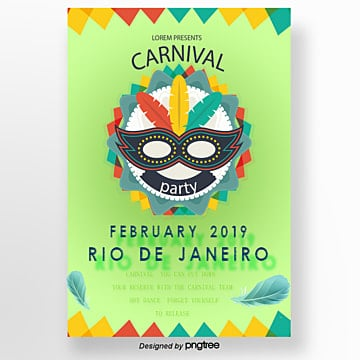 carnival posters with white cartoon masks template for free download