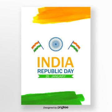 white watercolor indian republic poster Template