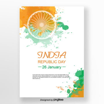 fresh watercolor wind wheel flag indian republic poster design Template