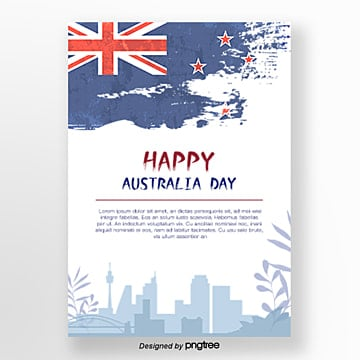 hand painted ink splashing flat wind australian day posters red and blue Template