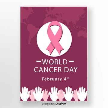 pink ribbon poster for world cancer day Template