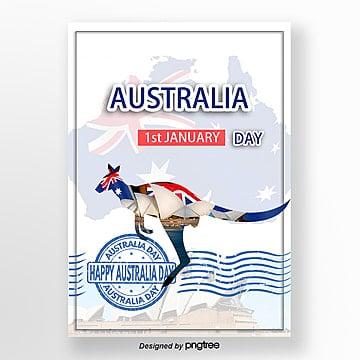 white blue creative kangaroo australian day poster
