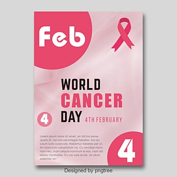 world cancer day poster pink ribbon simple poster Template