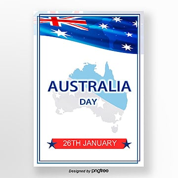 simple and fresh map flag element poster for australia day