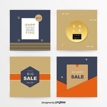 편평 and graphics sns promotion banner set gold Template