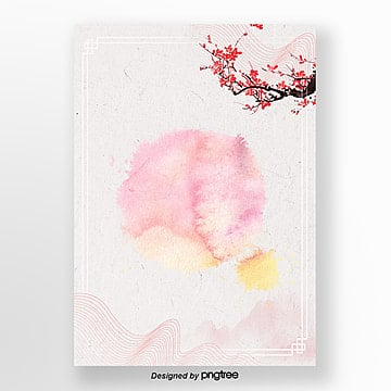 pink simple simple traditional ink painting poster background field Template