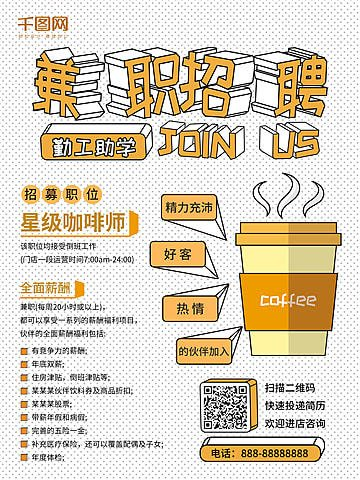 Coffee Shop Recruitment Recruitment Series Poster Design ...