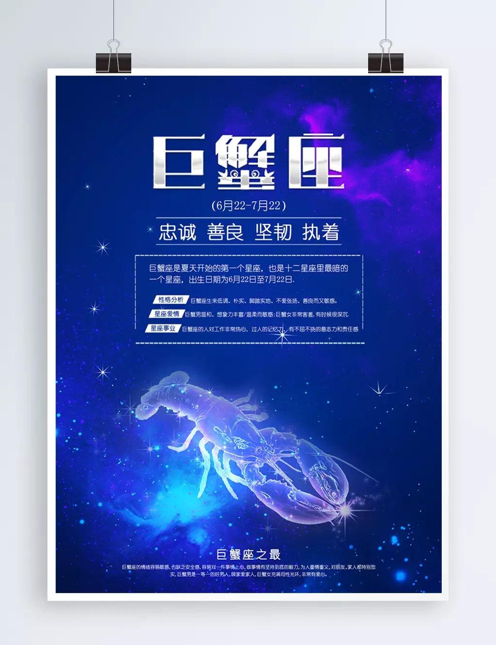 Fesyen blue twelve constellation poster Cancer Kanser Twelve