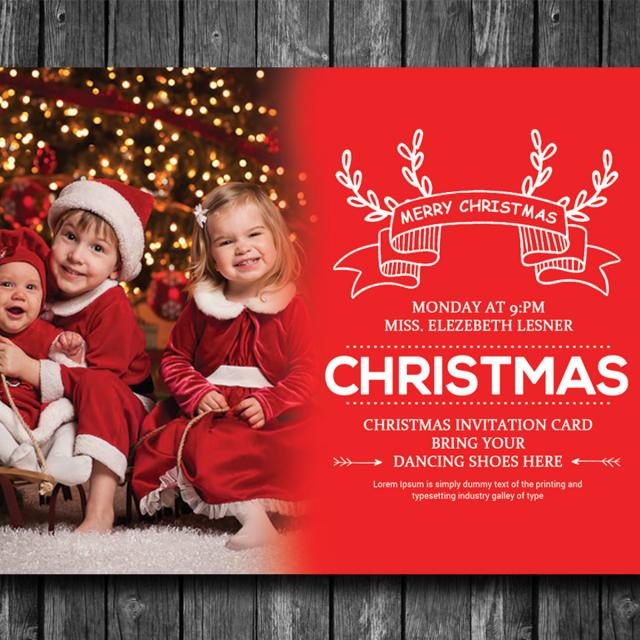 Happy Christmas Card Psd Template