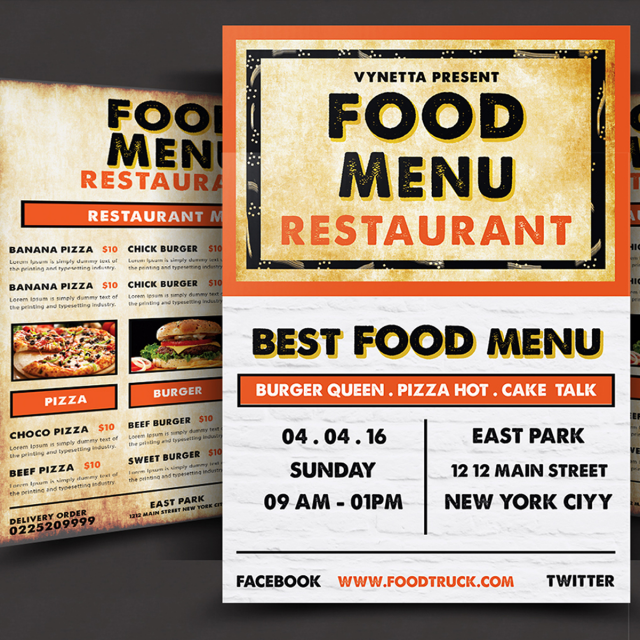 Food Menu Flyer Psd Template For Free Download On Pngtree