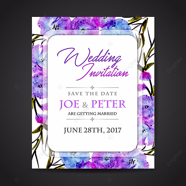Watercolor Floral Hand Painted Wedding Invitation Template For Free