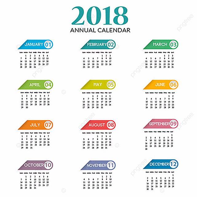 Annual Calendar 2018 Template Free Download On Pngtree