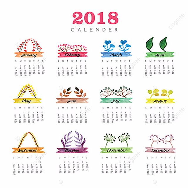 annual floral calendar 2018 template for free download on pngtree