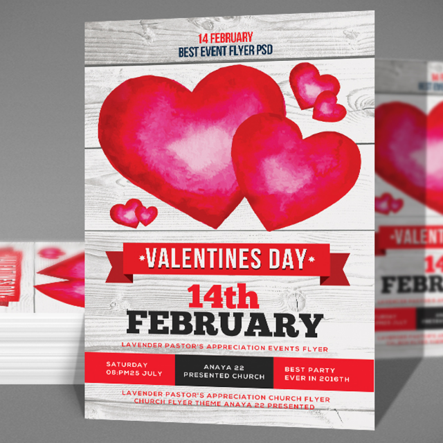 Red Heart Valentines Day Flyer Template For Free Download On Pngtree