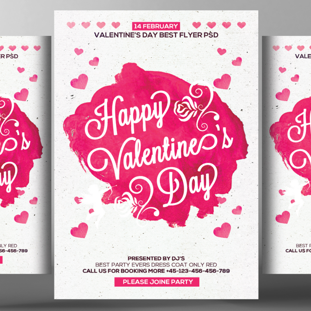 Watercolor Valentines Day Flyer Psd Template For Free Download On