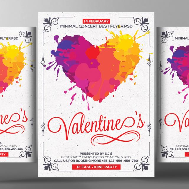 Corazon Valentines Day Flyer PSD