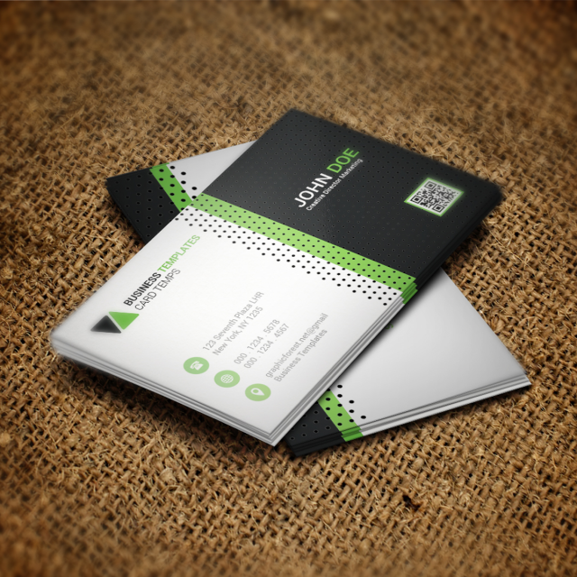 Green business card psd template template for free for Free business card templates psd