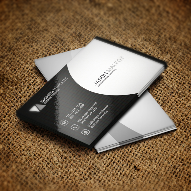 Black And White Business Card Psd Template Template For